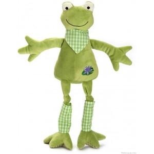 """Dans la collection ferme des longues pattes, Magouille est une jolie grenouille tendre et douce de 45 cm avec de longue pattes et un bandana. Elle côasse quand on lui appuie sur le ventre. Présentée dans une belle boite en bois cylindrique estampillée """" les petites Marie"""" elle sera un cadeau de naissance apprécié. Norme CE EN71"""