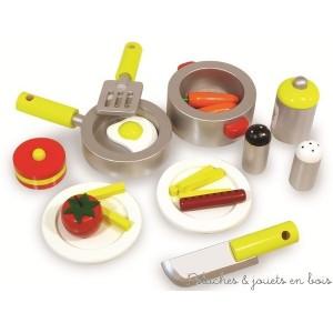 Détail des 20 accessoires de la cuisine du chef Vilac