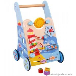 Un chariot de marche et centre d'activité Mer de la marque Bigjigs pour apprendre à bébé à faire ses premiers pas avec plein d'activités pour jouer et découvrir. A partir d'1 an+