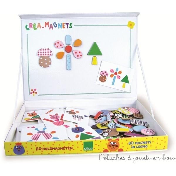 """Créa-magnets """" la ferme """" signé vilac contient 80 pièces en bois magnétiques et 32 cartes modèles rangées dans une boîte avec tableau magnétique. A partir de 3 ans+"""