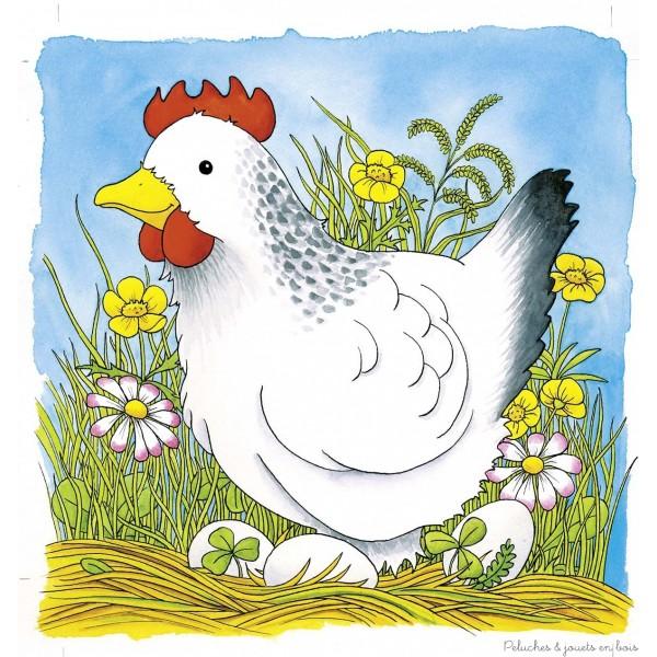 Un puzzle en 4 couches de 44 éléments sur le thème de la poule de la marque Goki. Pour découvrir l'oeuf, l'éclosion, le poussin et enfin la poule. A partir de 3 ans+