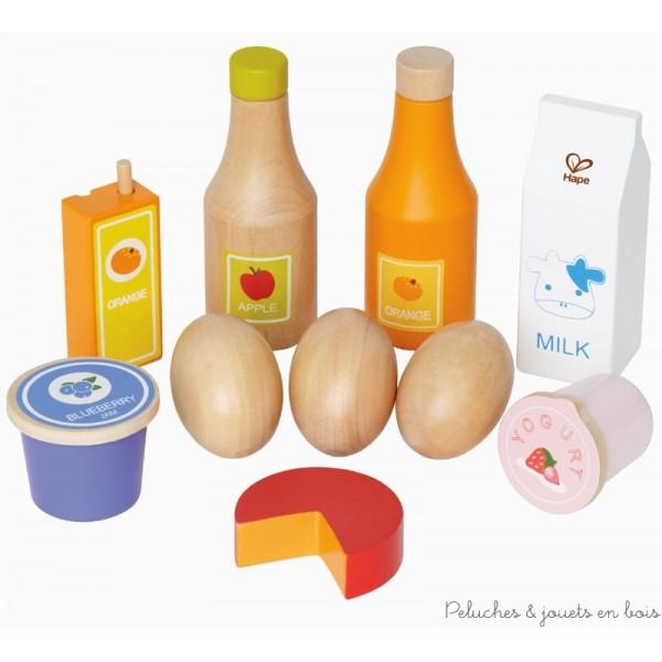 Des oeufs, du lait, du fromage et d'autres aliments inciteront les petits même les plus exigeants à préparer un repas sain. 10 pièces en bois FSC, peintures non toxiques à base d'eau. Normes CE.