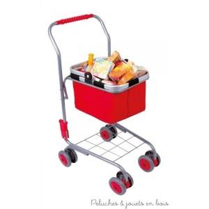 Un ensemble caddie avec un panier amovible rempli de provisions pour jouer à la marchande de la marque Legler. A partir de 3 ans+