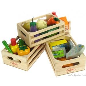 Ces caisses de produits frais et poisson en bois de la marque Bigjigs sont idéales pour jouer à la marchande ou à la dinette 19 pièces en bois. A partir de 3 ans+