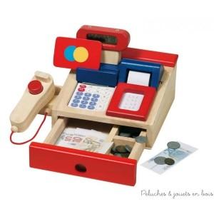 Caisse pour épicerie avec de nombreux accessoires et une véritable calculatrice de la marque Goki. A partir de 3 ans+