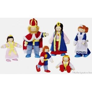 Complément idéal du château de poupée cette famille de poupées articulées royale est composée de 6 personnages : le roi, la reine, une princesse et deux petits princes ainsi que de leur fidèle gouvernante. Taille des poupées de 9 à 11 cm. Normes CE.