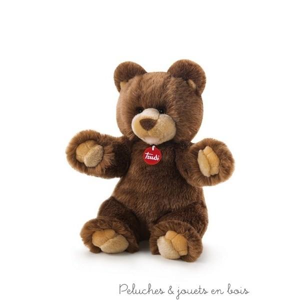 Un ours en peluche brun Gedeone de la marque Trudi. Taille 34 cm. Dès la naissance.