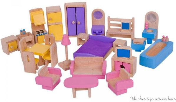 Ce set d'ameublement de la marque Bigjigs pour maison de poupées comprend 26 meubles en bois composant cuisine, salon, chambre à coucher et salle de bain.A partir de 3 ans+