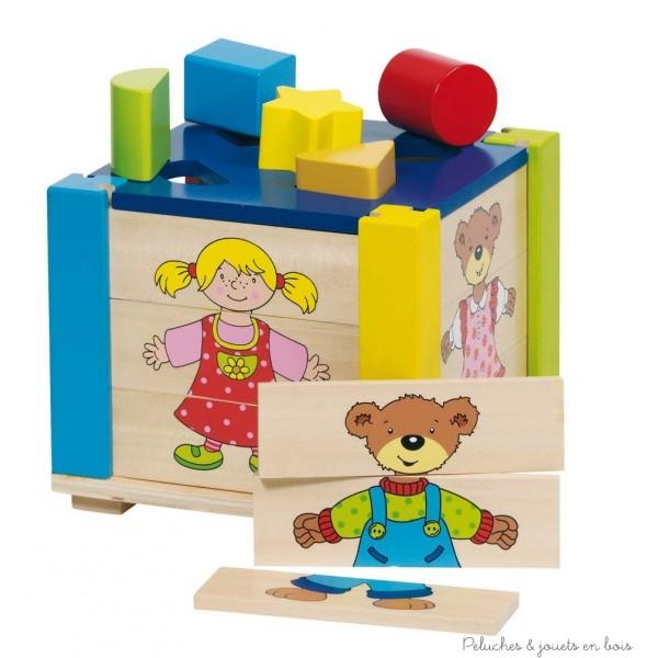 Grande boite à forme 5 pièces avec façades amovibles en puzzles en bois massif de la marque Goki. A partir de 1 an+