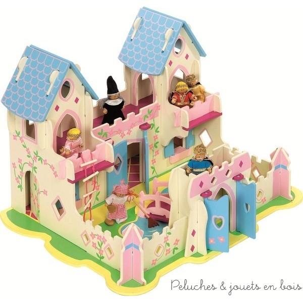 Un cadre enchanteur pour ce palais de princesse blanc, rose et bleu. Avec 2 tours, 2 balcons suspendus, des portes et fenêtres qui s'ouvrent et se ferment et 2 toits amovibles. Le petit plus pour échapper à la sorcière, une échelle de corde et une porte secrète ! Et pour commencer tout de suite à créer des contes de fées, le set comprend 6 personnages en bois articulés, 1 roi, 1 reine, 1 princesse, 1 prince, une servante, et une sorcière. Taille 40 x 59 x 47 cm. Normes CE.