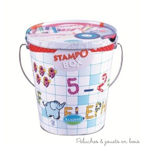 """Le kit stampobox de 44 tampons encreurs """"alphabet et chiffres"""" de la marque Aladine est idéal pour les loisirs créatifs. A partir de 4 ans+"""