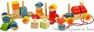 Un train empilable en bois à tirer, gai et coloré dont les pièces sont à encastrer sur des tiges en bois. Au total 28 pièces de bois pour un ensemble plein de fantaisie à la fois un jouet à tirer et un jeu d'empilage. Taille 55 cm. Normes CE