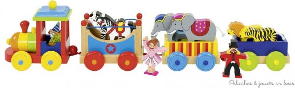 Le train du cirque entre en ville aujourd'hui sa locomotive est conduite par un clown. Mr Loyal et une ecuyère accompagnent le convoi et à bord des 3 wagons un cheval, un zèbre, deux éléphants, un lion et un tigre. Tout un petit univers pour jouer au cirque et transporter ce petit monde. Dimensions : 45 x 8,9 x 11,5 cm. Normes CE