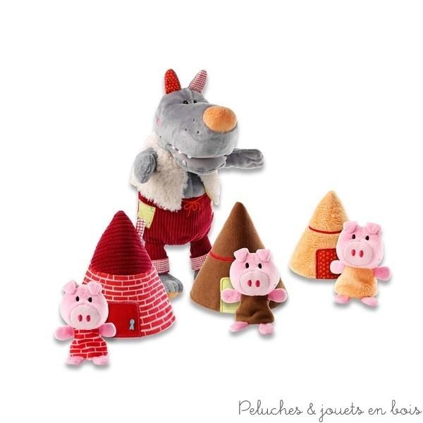 Un loup marionnette, 3 petits cochons marionnettes à doigts et 3 maisonnettes de la marque Lilliputiens. A partir de 9 mois+