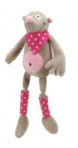 """Dans la collectin ferme des longues pattes, Zizitop est une adorable taupe tendre et douce de 45 cm avec de longues pattes et un bandana. Présentée dans une belle boite en bois cylindrique estampillée """"Les Petites Marie"""" elle fera un cadeau de naissance apprécié. Norme CE"""