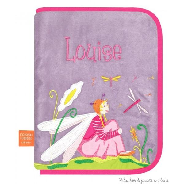 Protège carnet de santé Libellule amoureuse Prénom brodé personnalisable