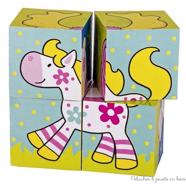 4 cubes en bois pour reconstituer 6 petits personnages de l'univers coloré et enfantin de la game Susibelle de la marque Goki. A partir de 2 ans+