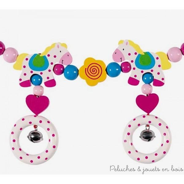 """Une chaine pour poussette """"chevaux"""" signée Heimess idéale en cadeau de naissance ou pour faire plaisir aux plus petits. A partir de 0m+"""