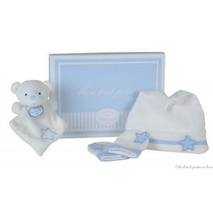 """Ce coffret naissance bleu avec bonnet, mouffles & doudou ours de la collection """"Mon tout petit"""" est de la marque Doudou & Compagnie. De 0 à 6 mois"""