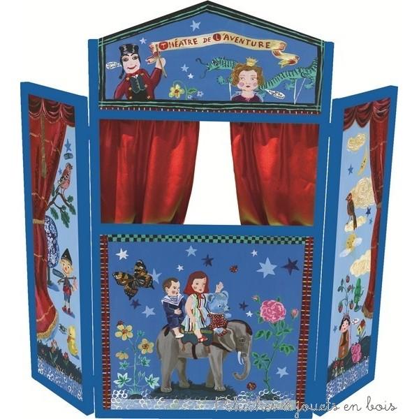 Théatre & marionnettes L'éveil de l'imagination des enfants par le jeu mêlé de créativité, mais aussi par l'identification et donc la compréhension des émotions se fera avec beaucoup de joie et de plaisir grâce aux théâtres et aux marionnettes ! C'est aussi un excellent jeu éducatif pour développer le langage, le sens artistique et la motricité fine… Ici les parents pourront opter pour des théâtres en bois avec de véritables rideaux en tissus et avec des décors de Guignol et de Madelon et aussi pour nombre de marionnettes de doigts et de peluches marionnettes à main doubles ou réversibles comme le loup et l'agneau, Ours Polaire & Pingouin, Abeille & Ours ou encore des marionnettes Chat-Princesse, ou Lion-Roi,. Il y a aussi des kits variés contenant de 3 à 6 marionnettes permettant de raconter les histoires les plus fantastiques en animant des personnages célèbres de contes comme Pinocchio et Gepetto, Blandine et les 3 ours, Les 3 petits cochons, Blanche-neige et les 7 nains, Peter Pan, le Chat botté, Le Petit Chaperon Rouge, le roi Arthur et les chevaliers de la Table Ronde. Tous les thème chers aux enfants sont déclinés en boite complète : assortiment de 12, Set de marionnettes royales, Set de marionnettes Pirates, Set d'animaux Safari, Set de 6 marionnettes sur le thème du Cirque ...et de jouer les plus charmantes histoires de contes et de légendes....
