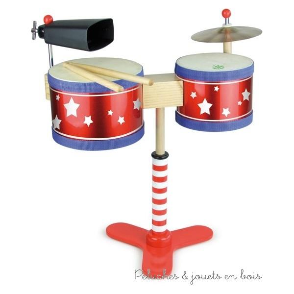 La batterie en bois des petits est un instrument de musique pour enfants de la marque Vilac. A partir de 3 ans+