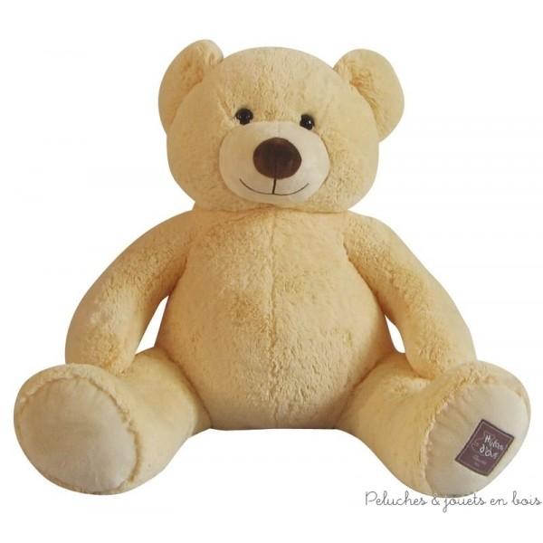 Un ours géant de 100 cm, en peluche ivoire toute douce de la collection bel'ours de la marque Histoire d'ours. A partir de 0m+