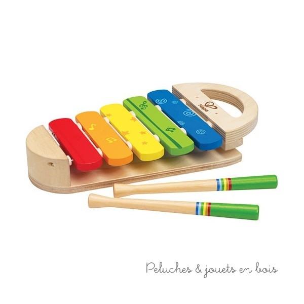 Jouez de la musique et laissez votre enfant jouer sur le rythme donné. Chantez et dansez avec votre enfant. Amusez-vous! Faites lui écouter les différents sons. Favorise la dextérité, la coordination main/œil et la manipulation. Introduit la logique, le rapprochement, les relations spatiales, la pensée critique et une compréhension des causes et effets. Peintures non toxique à base d'eau, bois FSC. Taille de produit : 27.4 x 14.5 x 4.4 cm. Normes CE. Ce jouet en bois fait partie de la collection Early Melodies d'instruments de musique en bois signée Hape, comme tous les autres jouets suivants de cette collection qui sont vendus séparemment dans notre boutique : Batterie rock'n'roll Hape, Castagnettes Hape, Mini orchestre Hape, Mr Tambourin Hape, Grand piano à queue rose en bois Hape, Xylophone arc-en-ciel Hape, Boîtier à marteler Xylophone Hape...