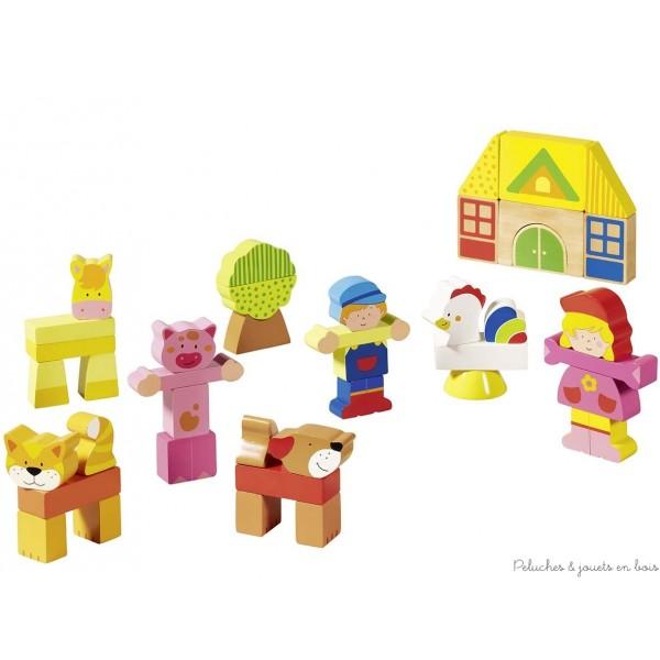 Un jeu de construction et à la fois un puzzle 3D, ma petite ferme est un jeu en bois de la marque Goki. A partir de 2 ans+