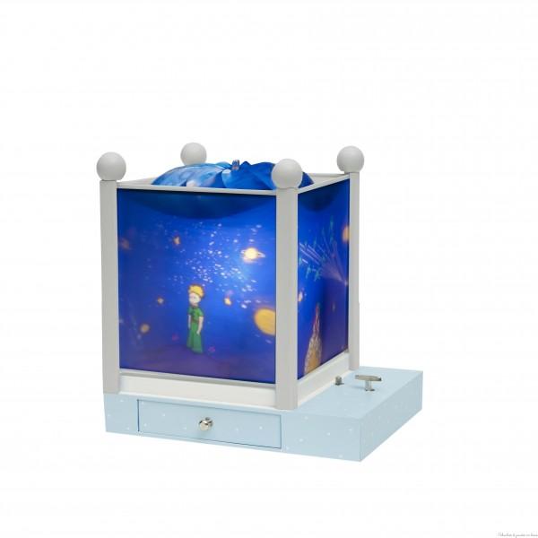 """Lanterne magique carrée avec pied en bois blanc de la marque Trousselier sur le thème ''le petit prince©"""" avec une ampoule 12V à partir de 0m+"""