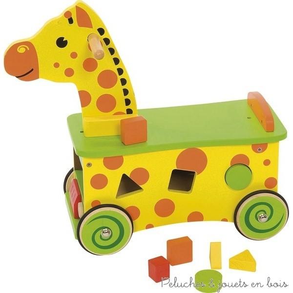 Porteur rigolo en forme de girafe couplé à une boite à formes de la marque Bigjigs Taille 46 x 45 cm. 1 à 3 ans.