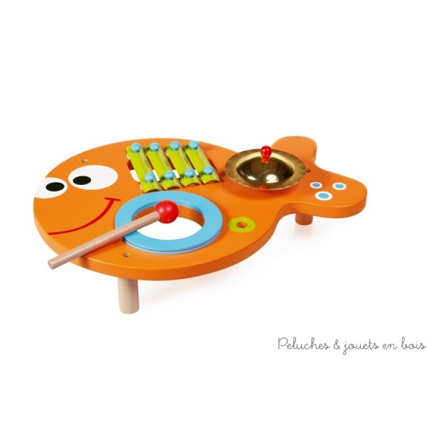 Une table musicale poisson 3 en 1 de la marque Scratch au design enfantin gai et coloré. A partir de 1 an+
