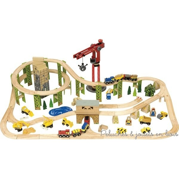 Ce grand circuit de train avec chantier de construction qui comprend 116 pièces en bois, signé de la marque Bigjigs Train et compatible avec les circuits de trains en bois des autres grandes marques. A partir de 3 ans+