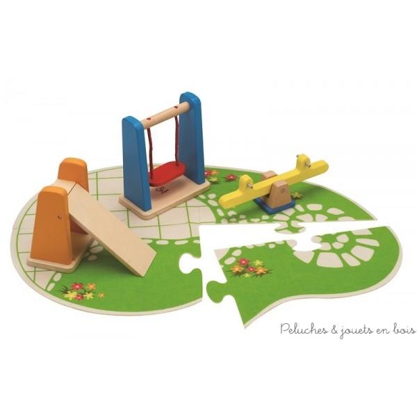 Maison de poup es poup es articul es en bois meubles et for Au jardin d enfant