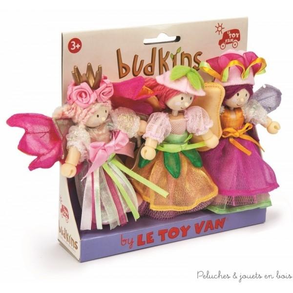 Dans la collection Budkins de la marque le Toy Van, un ensemble de 3 fées du jardin comprenant la princesse Fairybelle, la fée Orla et la reine Gardenia. Un complément idéal pour le palace ou la licorne de fairybelle vendus séparément. A partir de 3 ans+