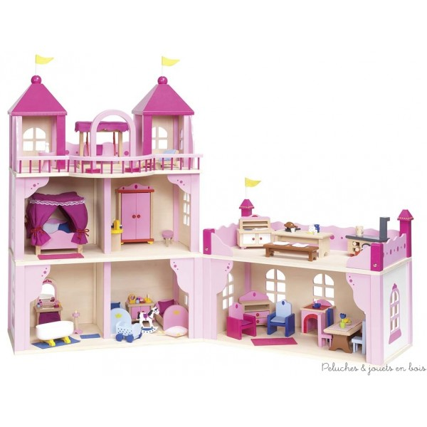 Ce magnifique château royal ou de princesse pour poupées articulées en bois est très spacieux en effet il offre sept grandes pièces en position ouverte et une très grande terrasse en position fermée. Sa façade rose et blanche, ses balustrades et parapets ainsi que ses fenêtres arrondies lui donnent une allure élégante et luxueuse. Idéal pour accueillir le mobilier du château et la famille de poupées royales vendus à part. Dimensions du château 100 cm x 33 cm x 80 cm. Normes CE