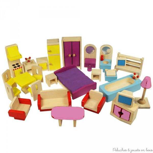 Ce set d'ameublement de la marque Bigjigs pour maison de poupées comprend 26 meubles en bois composant cuisine, salon, chambre à coucher et salle de bain. A partir de 3 ans+ A noter que le fabricant se réserve le droit de changer à tout moment les couleurs de certains meubles, photos non contractuelles.