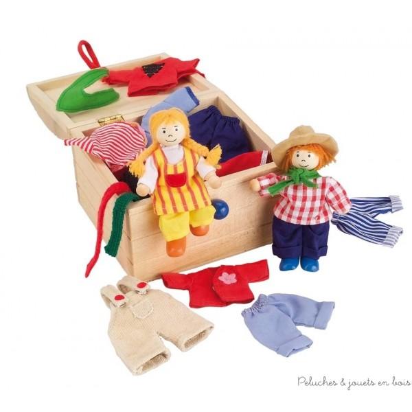 Birte et Ben sont des poupées en bois articulées avec 14 tenues complètes de la marque Goki. A partir de 3 ans+