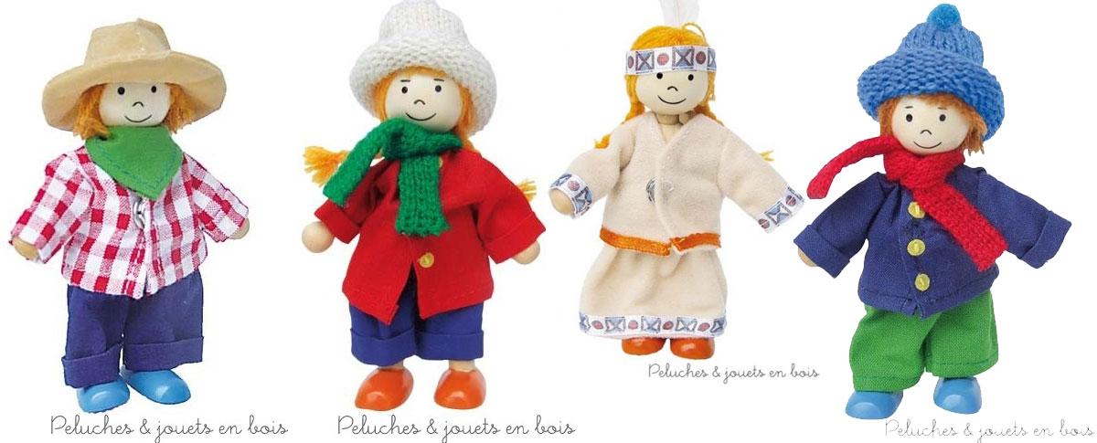 Birte et Ben sont des poupées en bois articulées, ce qui permet à l'enfant de les positionner comme il le veut, ils possèdent une garde robe très complète de 14 tenues ! Le tout se range dans un coffret en bois. Taille des personnages10 cm. Normes CE.