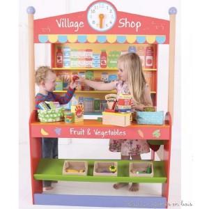 Une grande marchande du village en bois aux couleurs vives de la marque bigjigs toys. Elle comprend: une pendule avec aiguilles amovible, un comptoir marchand et des étals prêts à recevoir des fruits et légumes, ainsi que des étagères à garnir de produits.