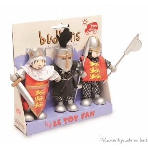 Dans la collection Budkins de la marque Le Toy Van, un ensemble de 3 personnages articulés composé du roi Richard Coeur de Lion, du chevaliers Henri et du soldat Léon. Un complément idéal pour les chateaux vendus séparément. A partir de 3 ans+