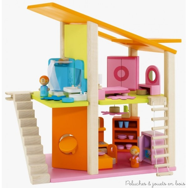 maison de poup es en bois poup es articul es en bois. Black Bedroom Furniture Sets. Home Design Ideas