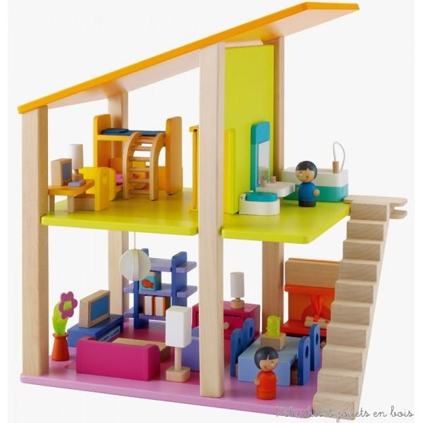 Maison de poup es en bois poup es articul es en bois for Petit meuble pour salon