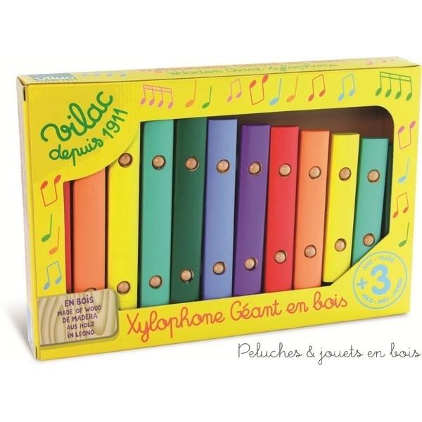 Un grand xylophone en bois de 12 notes, visuel et coloré signé Vilac. Un instrument de musique pour les enfants à partir de 3 ans+