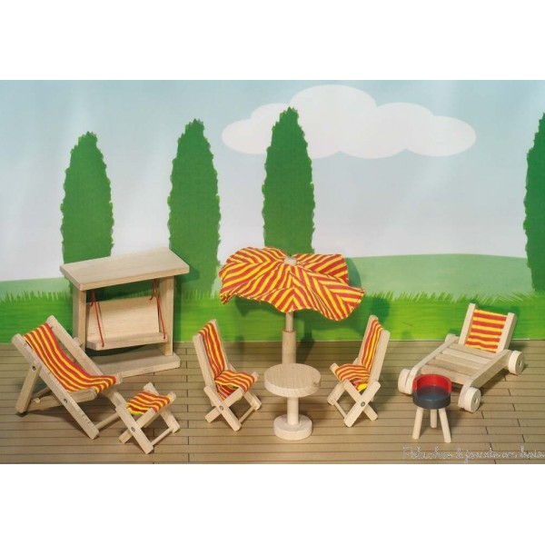 Maison de poupées en bois, poupées articulées en bois, meubles et accessoires