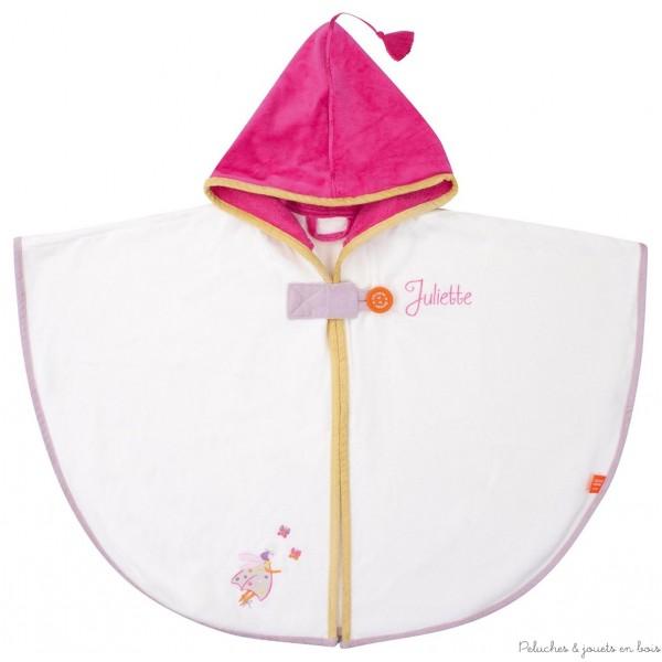 Cape de bain Coccinelle écrue avec capuche rose Prénom brodé personnalisable