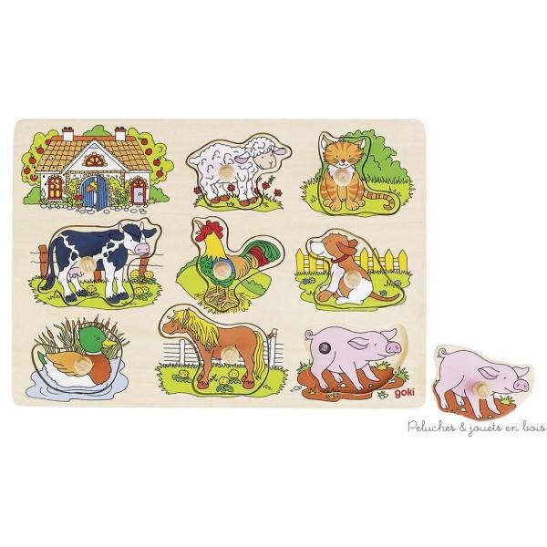 Un puzzle sonore sur le thème des animaux de la ferme. Le cri de l'animal retenti lorsqu'on pose la pièce de puzzle. Les images sur le plateau facilitent le jeu. Dimensions 29.7 x 21.5 cm. Normes CE