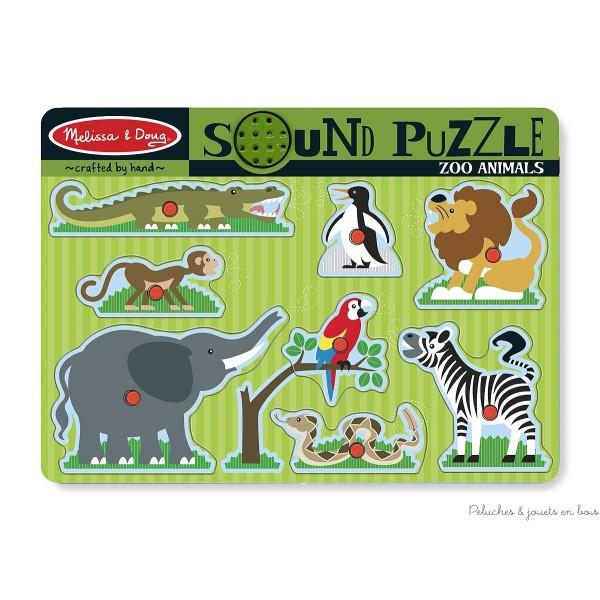 Puzzle sonore animaux de la jungle ou du jardin zoologique de la marque Mélissa and Doug. A partir de 2 ans+
