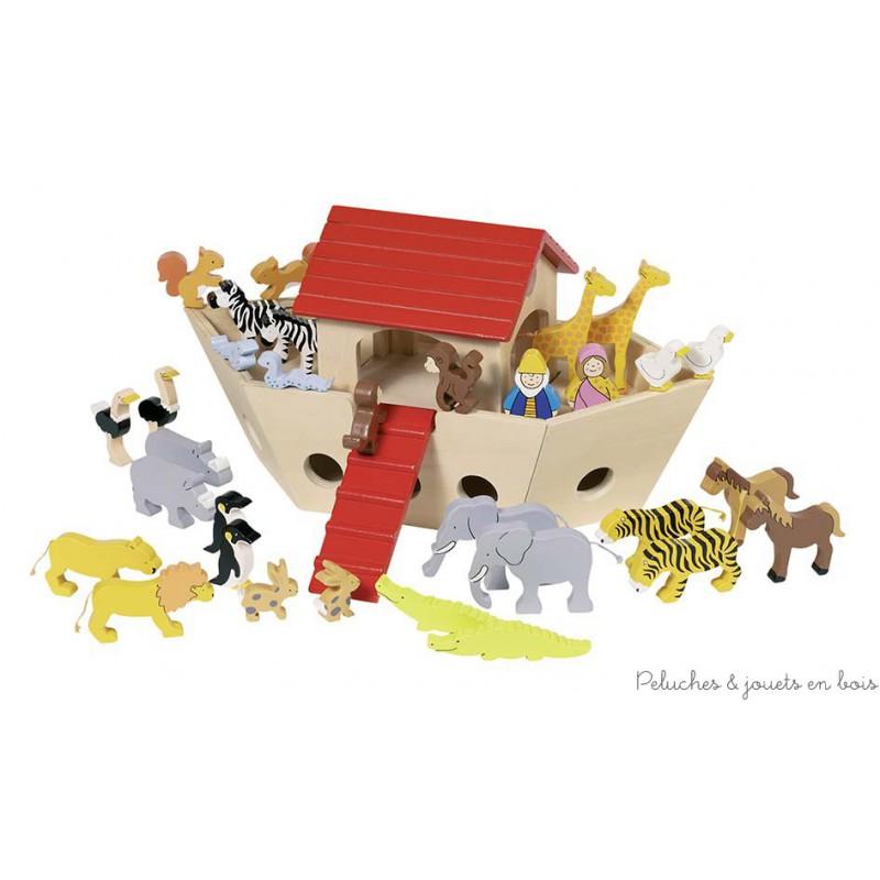 Une très jolie arche de Noé en bois avec 2 personnages et 15 couples d'animaux en bois peint de la marque Goki. Grâce à la maisonnette amovible on peut jouer aussi à l'intérieur de l'arche. A partir de 3 ans+