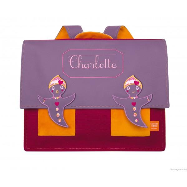 P'tit Cartable Violet Prénom à broder personnalisable Tous les produits de la marque : L'Oiseau Bateau, déco chambre bébé & enfant Ref : CAR0013