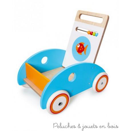 Un chariot de marche poisson avec frein de la marque Scratch qui accompagnera les premiers pas de bébé en toute sécurité. A partir de1 an+